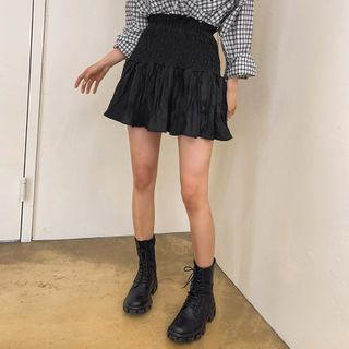 LIPHOP - Inset Shorts Smocked Crinkled Miniskirt