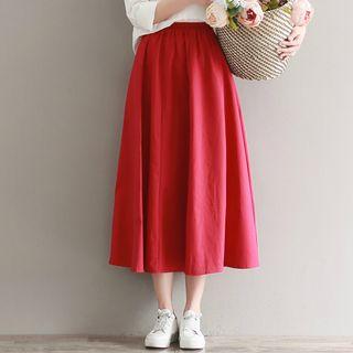 Sulis - High Waist Midi A-Line Skirt / Plain Shirt