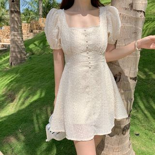 Sienne - Puff-Sleeve Chiffon Dress