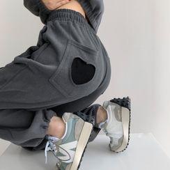 Shira - 爱心贴标高腰宽松抽绳加厚束脚裤