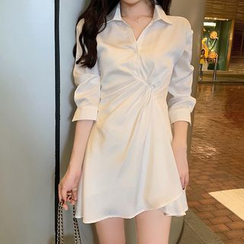 ever after - Twist-Front Chiffon Polo Dress