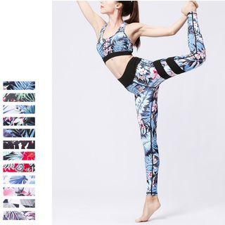 PAIYIGE - Set: Printed Sports Bra + Yoga Pants (Various Designs)