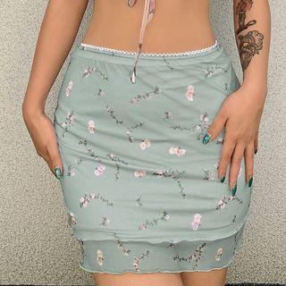 Puffie - Floral Mini A-Line Mini Skirt