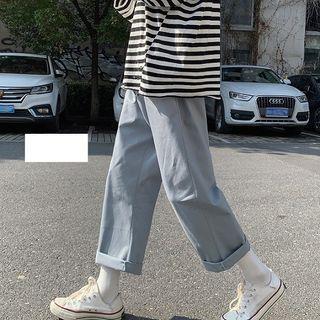 FOEV - Plain Cropped Straight Leg Pants