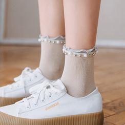 Rivara(リヴァーラ) - Faux Pearl & Metal Bead Socks