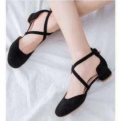 Freesia - 低跟交错带凉鞋