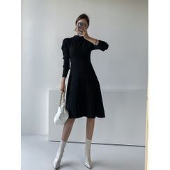 PPGIRL - Mock-Neck Pleated Wool Blend Knit Dress