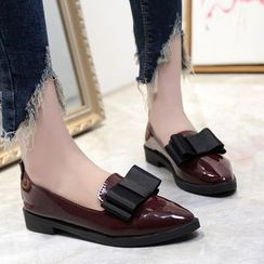 Moonlit Valley - Patent Bow-Accent Loafers