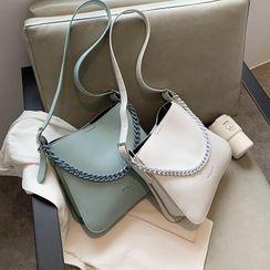 Skyglow - Chain Plain Faux Leather Shoulder Bag