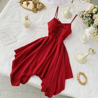 Lucuna - Lace-Up Spaghetti Strap A-Line Asymmetric Hem Dress
