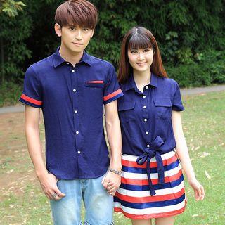 NoonSun - Couple Matching Pocket Detail Short-Sleeve Shirt