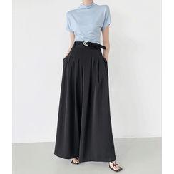 GUMZZI - High-Waist Pleated-Trim Culottes With Belt