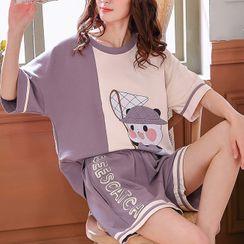 Lion Sniff - Printed Short Sleeve Pajama Set