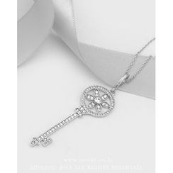 Miss21 Korea - Rhinestone-Key Pendant Long Chain Necklace