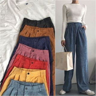 Moon City - Corduroy Wide-Leg Pants