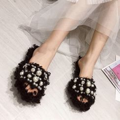 Anran - Embellished Furry Slippers