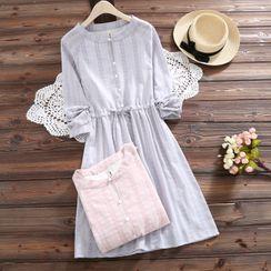 Angel Love - Long-Sleeve Floral Print A-Line Dress