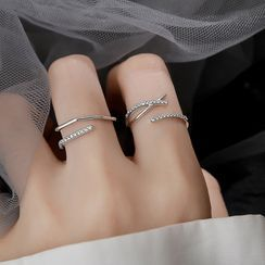 Hansha - 925纯银水钻多层开口戒指