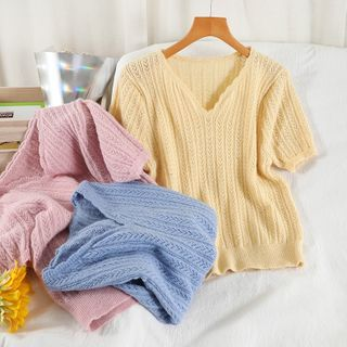 Miss Puff - Short-Sleeve Pointelle Knit Top