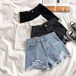 DIYI - Distressed High-Waist Denim Shorts