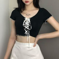 Puffie - Short-Sleeve Lace-Up Cropped Top