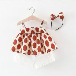 Hecto - Kids Set: Spaghetti Strap Dotted Top + Shorts + Hairband
