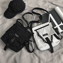 SUNMAN - Chain Strap Nylon Crossbody Bag