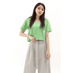 SIMPLY MOOD - U-neck Cropped T-Shirt