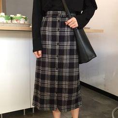 Fabricino - Plaid A-Line Midi Skirt
