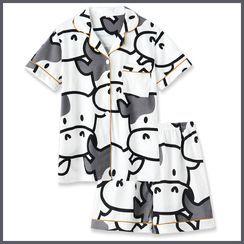 Endormi - Couple Matching Pajama Set: Short-Sleeve Cow Print Shirt + Shorts