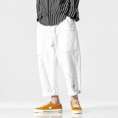Phoebus - Contrast Trim Stitching Cropped Harem jeans