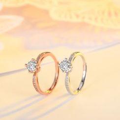 FOON - 925纯银水钻开口戒指