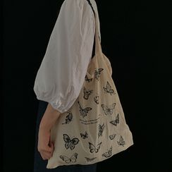 CIMAO - Butterfly Print Canvas Tote Bag