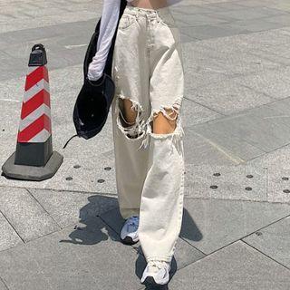 STARK - 水洗破洞宽腿牛仔裤