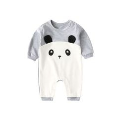 MOM Kiss - Baby Animal Embroidered Long-Sleeve One-Piece