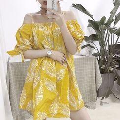 Fabricino - Leaf Print Cold-Shoulder Sundress