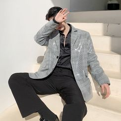 ANCHO - Single-Breasted Plaid Sequin Blazer