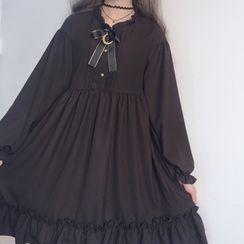 AKANYA - Bow Accent Long-Sleeve Shift Dress
