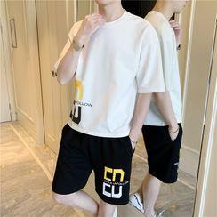 onlyever - Set: Elbow-Sleeve Letter Print T-Shirt + Shorts