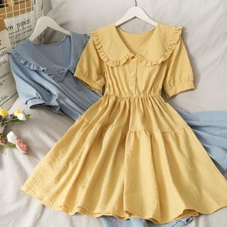 Lemongrass - Peter Pan-Collar Ruffled A-Line Dress in 8 Colors