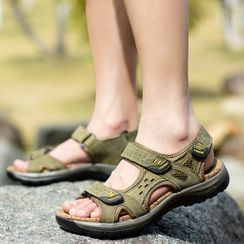 WeWolf - Genuine-Leather Velcro Flat Sandals
