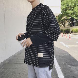 JORZ - Mock Two-Piece Striped Long-Sleeve T-Shirt