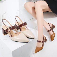 ACCUCIN - 粗跟尖頭涼鞋