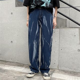 Shineon Studio - Tie-Dyed Straight Cut Jeans