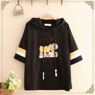 Kawaii Fairyland - Corgi Print Hooded Short-Sleeve Top