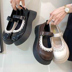 南在南方 - 蕾絲邊厚底瑪莉珍鞋