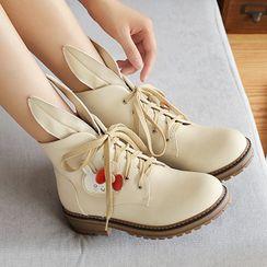 Lolita Tree - Rabbit Ear Lace Up Short Boots