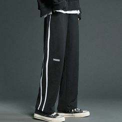 Shazoom - Striped Straight-Leg Sweatpants
