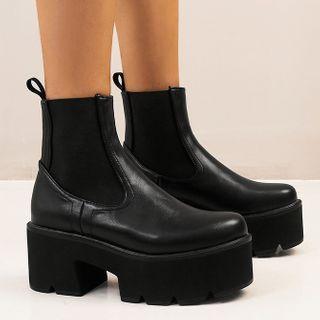 Megan - Plain Platform Short Chelsea Boots