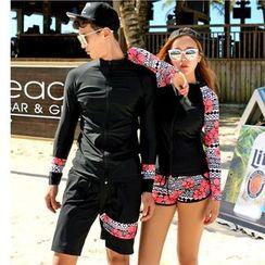 Summer Siren - Couple Matching Lettering Taniki / Swim Shorts / Swim Pants / Long-Sleeve Rashguard / Set